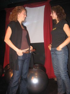 Karen Brody the playwright (right) with angie abdou