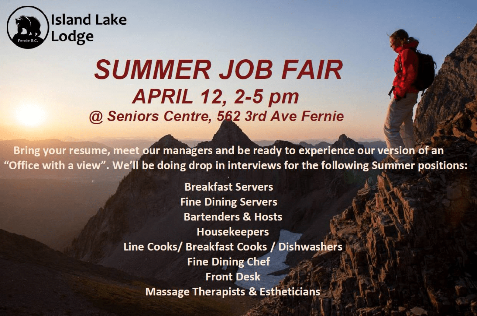 Island Lake Summer Job Fair