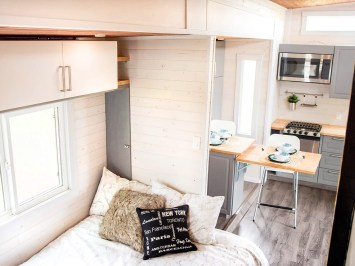 Fernie tiny home bed kitchen