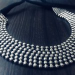 Seven Layer Beaded Antique Oxidized Silver Choker