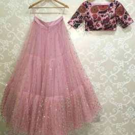 Light Pink Colored Embroidered Work Attractive Party Wear Lehenga: Pack 01