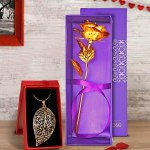 Valentine gift for girlfriend:2 Gift Combo Pendant Neck Chain with Artificial Rose
