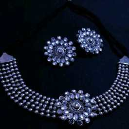 Oxidized Silver Color Necklace Set With Earrings : Pack 1