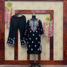 BLACK RAYON EMBROIDERED SUIT WITH PALAZZO SKU 104925
