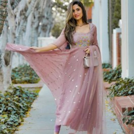 Baby Pink Georgette With Embroidery Sequence Work Ethnic Wear: SKU 97451
