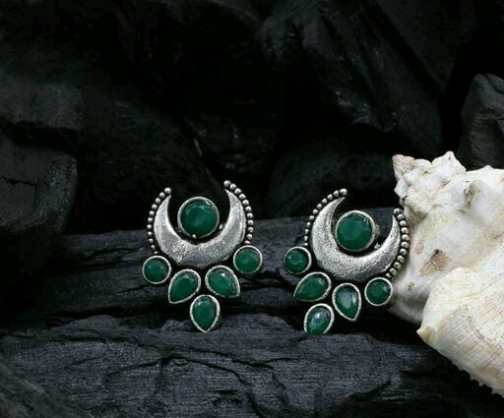 Green Colour German Silver Oxidised Studs