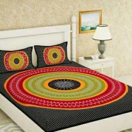 Multicolour Double Bedsheet With 2 Pillow Cover