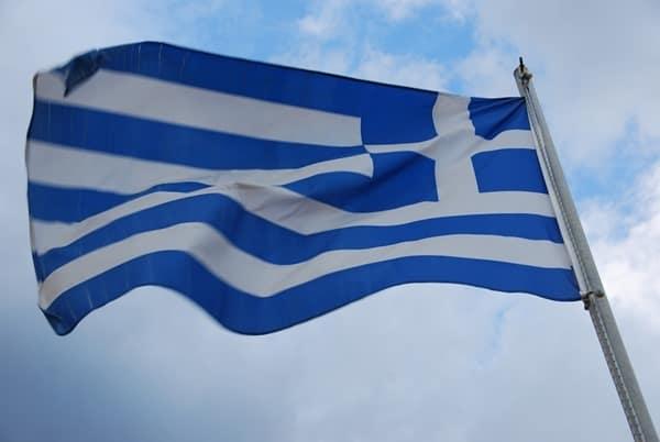 Griechische Flagge Rethymnon Altstadt Kreta Griechenland
