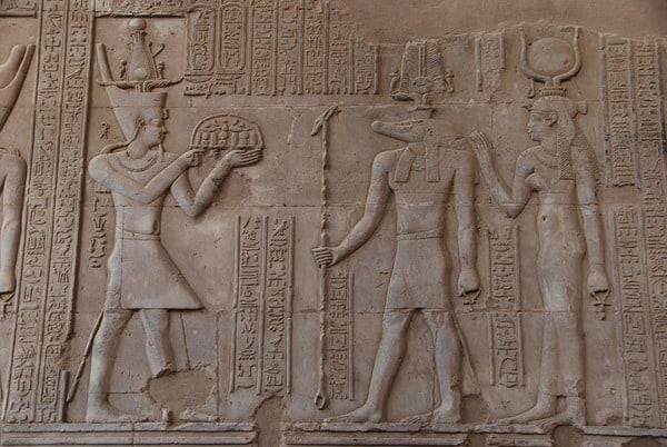 Doppeltempel von Kom Ombo Pharao Opfergabe Sobek Relief Säule Ägypten