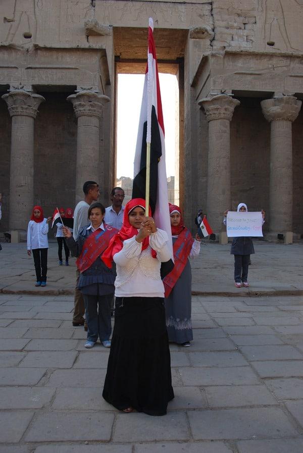 Horus Tempel von Edfu Demonstration Muslima Ägypten Nil Nilkreuzfahrt