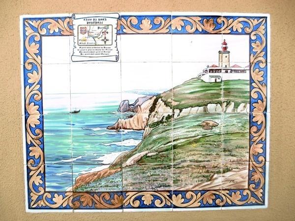 Cabo da Roca westlichster Punkt Europas Leuchtturm Kachel Portugal