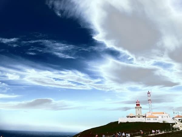 Cabo da Roca westlichster Punkt Europas Leuchtturm Faro Portugal Fehlfarben