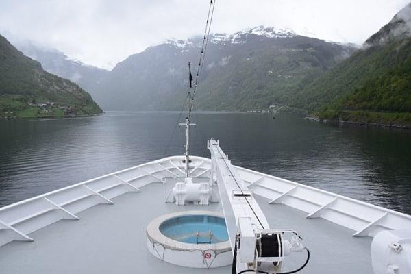 Geirangerfjord Norwegen Geiranger Nordland-Kreuzfahrt MSC Sinfonia auslaufen
