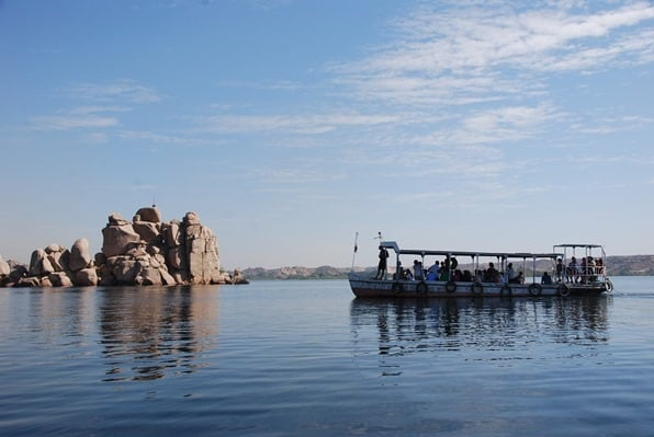 Nilkreuzfahrt Rückfahrt vom Philae Tempel Assuan Nil Ägypten Urlaub