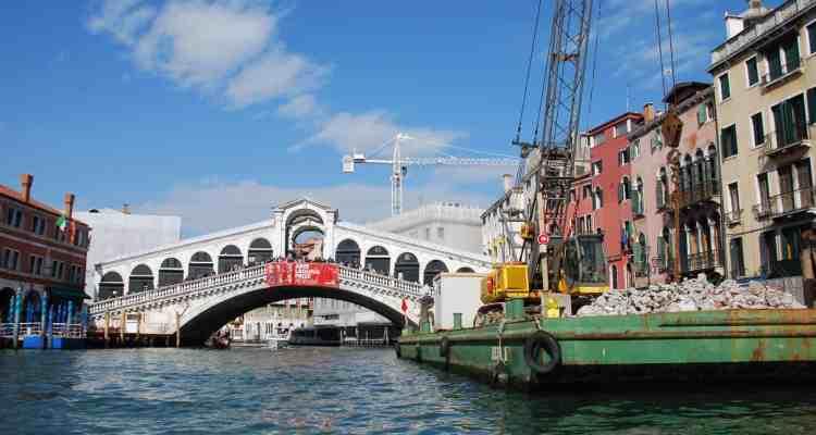 0 Baustelle Rialto Bruecke Canal Grande Venedig Italien