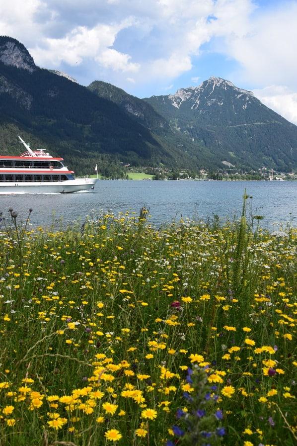 Gaisalm Achensee wandern Pertisau Almwiese Ausflugsdampfer Tirol Österreich