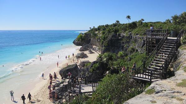 Tulum Mexiko Maya Tempel Strand Yucatan Karibik Meer