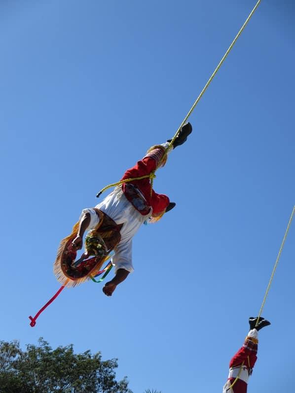 Tulum Mexiko Maya Stätte Tanz Juego Danza de Volador am Seil Yucatan