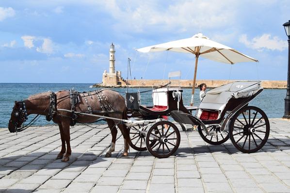 Pferdekutsche Alter Hafen Chania Kreta Griechenland