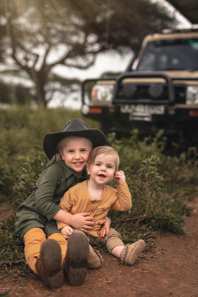 Young Kids on Family Safari in Amboseli Kenya