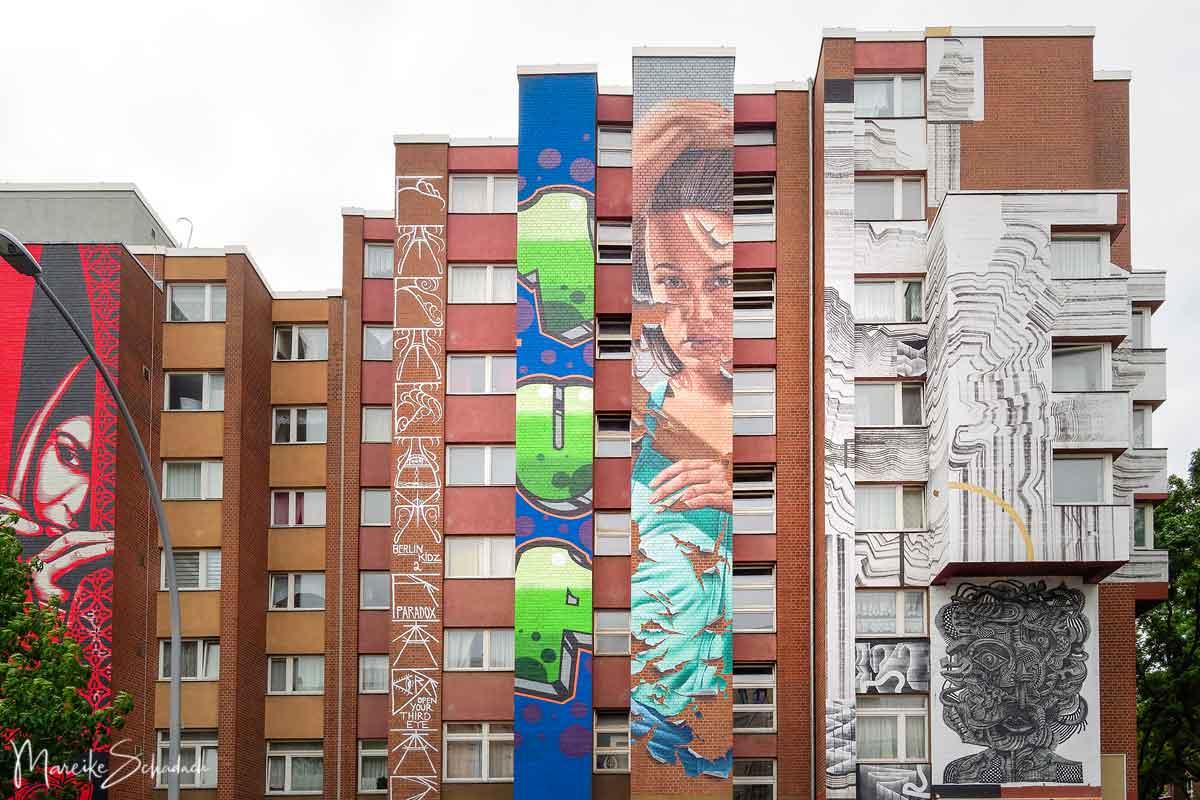 von links nach rechts unten: D Face, Berlin Kidz, 1UP, James Bullough, Never 2501, Zio Ziegler - Bülowstraße 31-32
