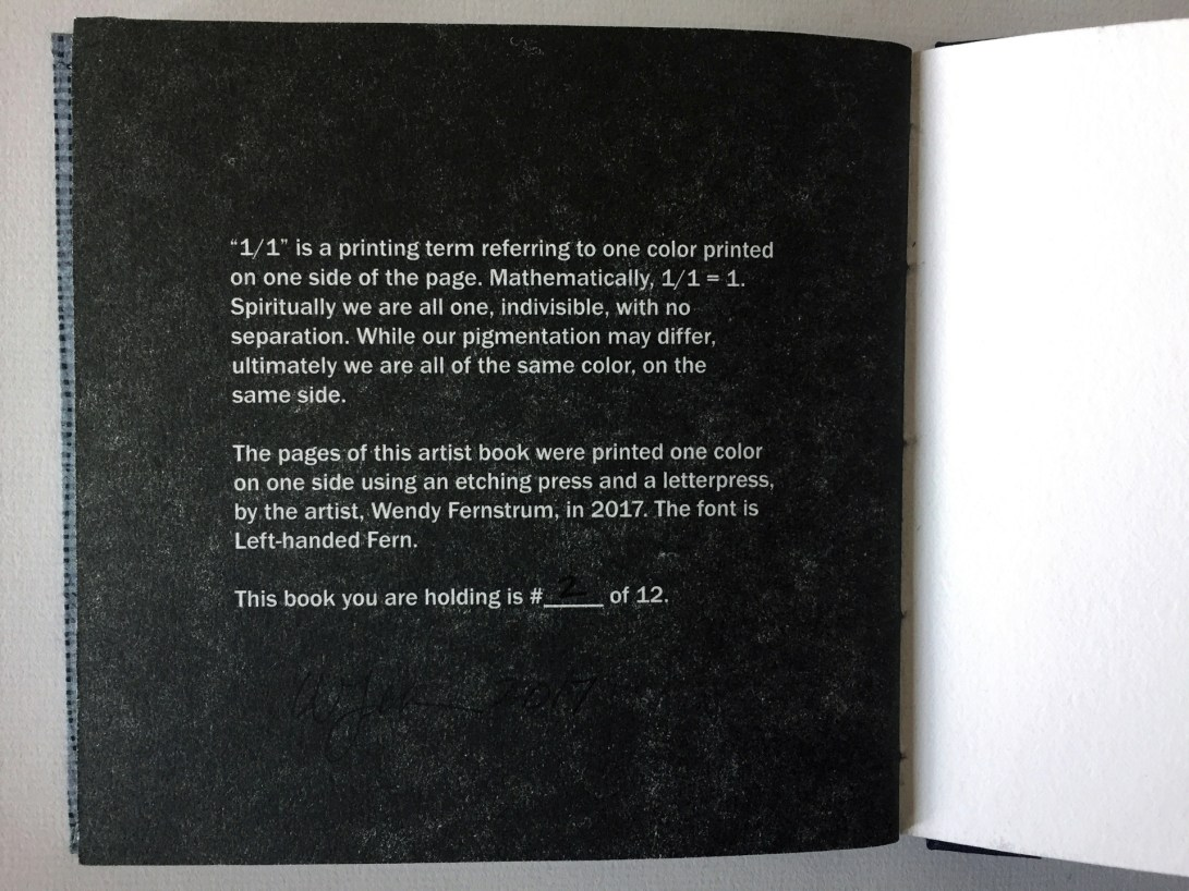 "Colophon of an artist book by Wendy Fernstrum titled ""1/1"""