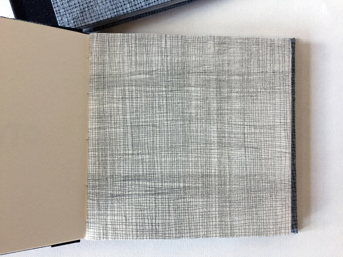 """Interior page of artist book by Wendy Fernstrum titled """"1/1"""" showing artwork that looks like a screen or netting"""