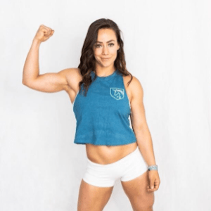Camille Leblanc Bazinet wears the Heathered Deep Teal Racerback Crop Top