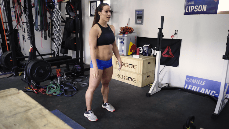Camille Leblanc-Bazinet demonstrating a burpee.