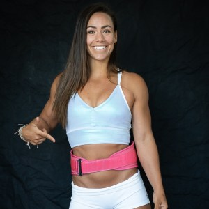 Feroce Pink weightlifting belt (Camille Leblanc-Bazinet product image)