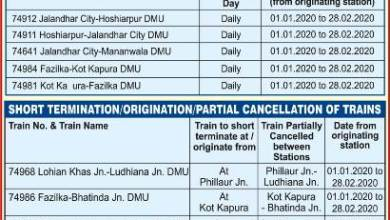 Indian Railways cancels 10 trains between Jan.1 to Feb.28, 2020