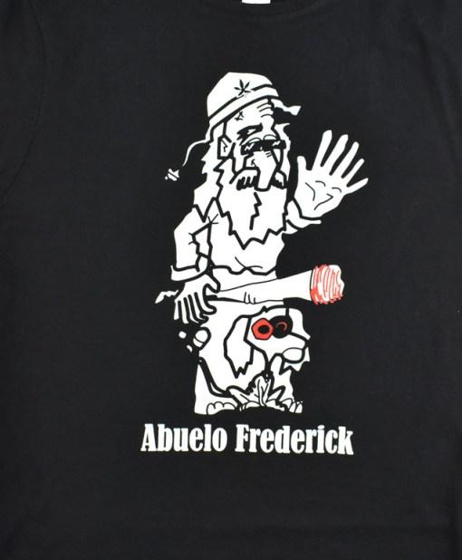 Camiseta-mujer-Los-Delinquentes-Abuelo-frederick-negra-detalle