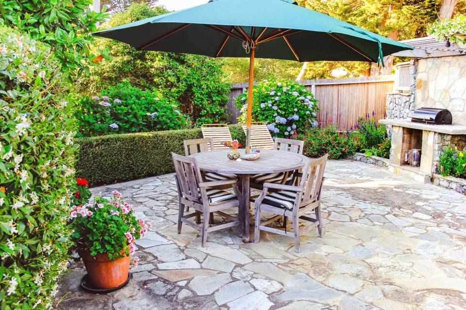 point reyes vacation rental garden patio with table and chairs