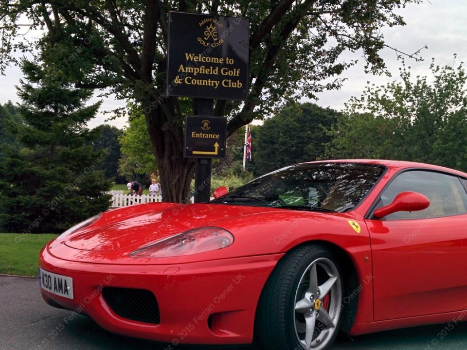 My Ferrari 360 Modena, posing outside Ampfield Golf & Country Club