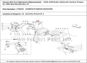 Ferrari part number 170626 COMPLETE BRAKE BOOSTER