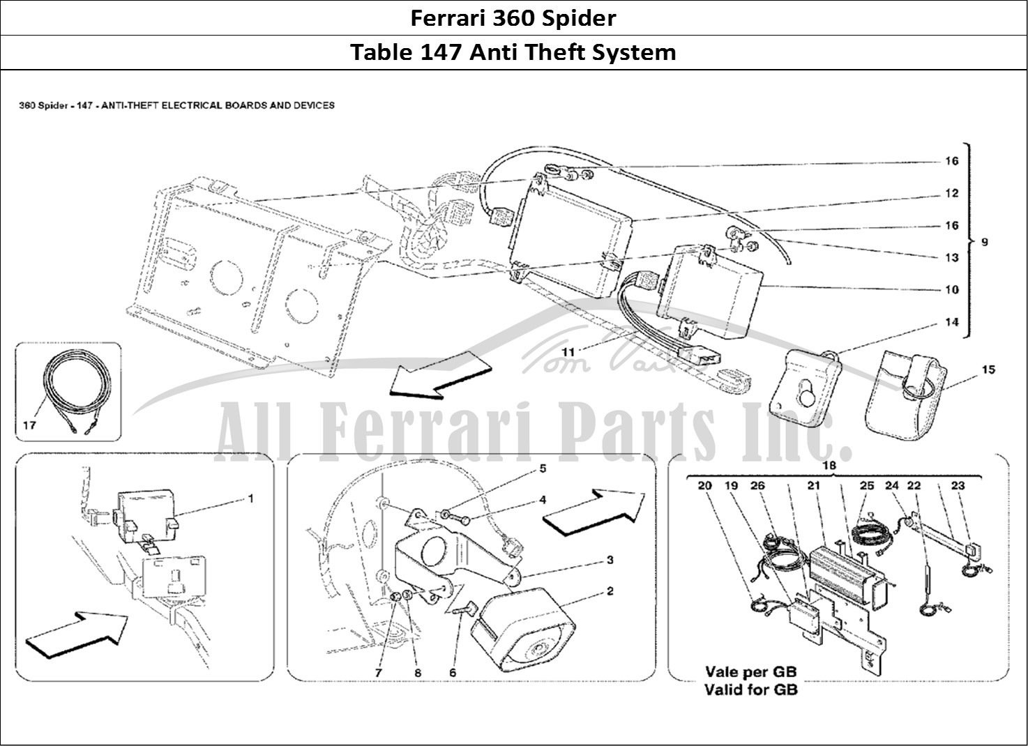 Buy Original Ferrari 360 Spider 147 Anti Theft System Ferrari Parts Spares Accessories Online