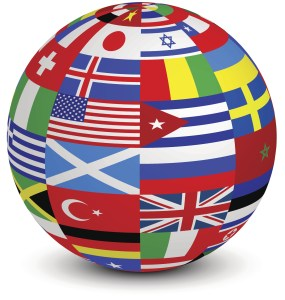 sphere with world flags