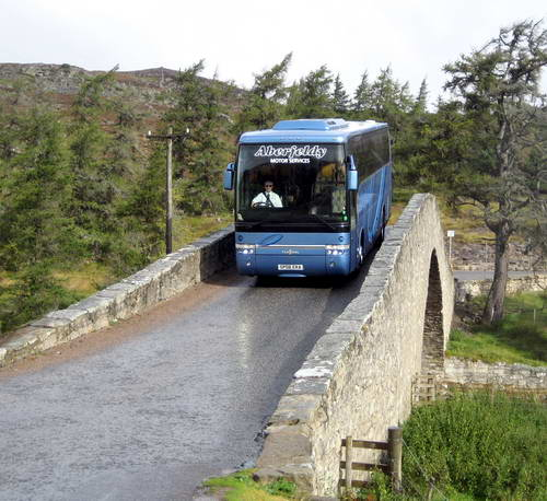 Coach coming over bridge near Balmoral. Photo by Ferrell Jenkins.