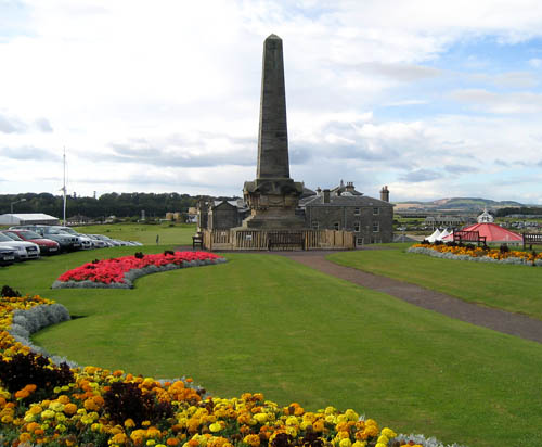 Martyrs Monument at St. Andrews. The Old Course in the distance. Photo by Ferrell Jenkins.
