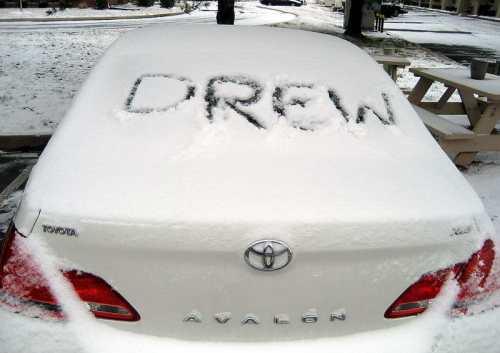 """Drew"" in Snow. Photo by Ferrell Jenkins."