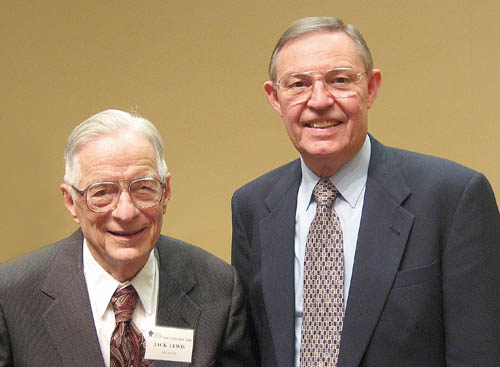 Dr. Jack P. Lewis and Ferrell Jenkins. Photo by Leon Mauldin.
