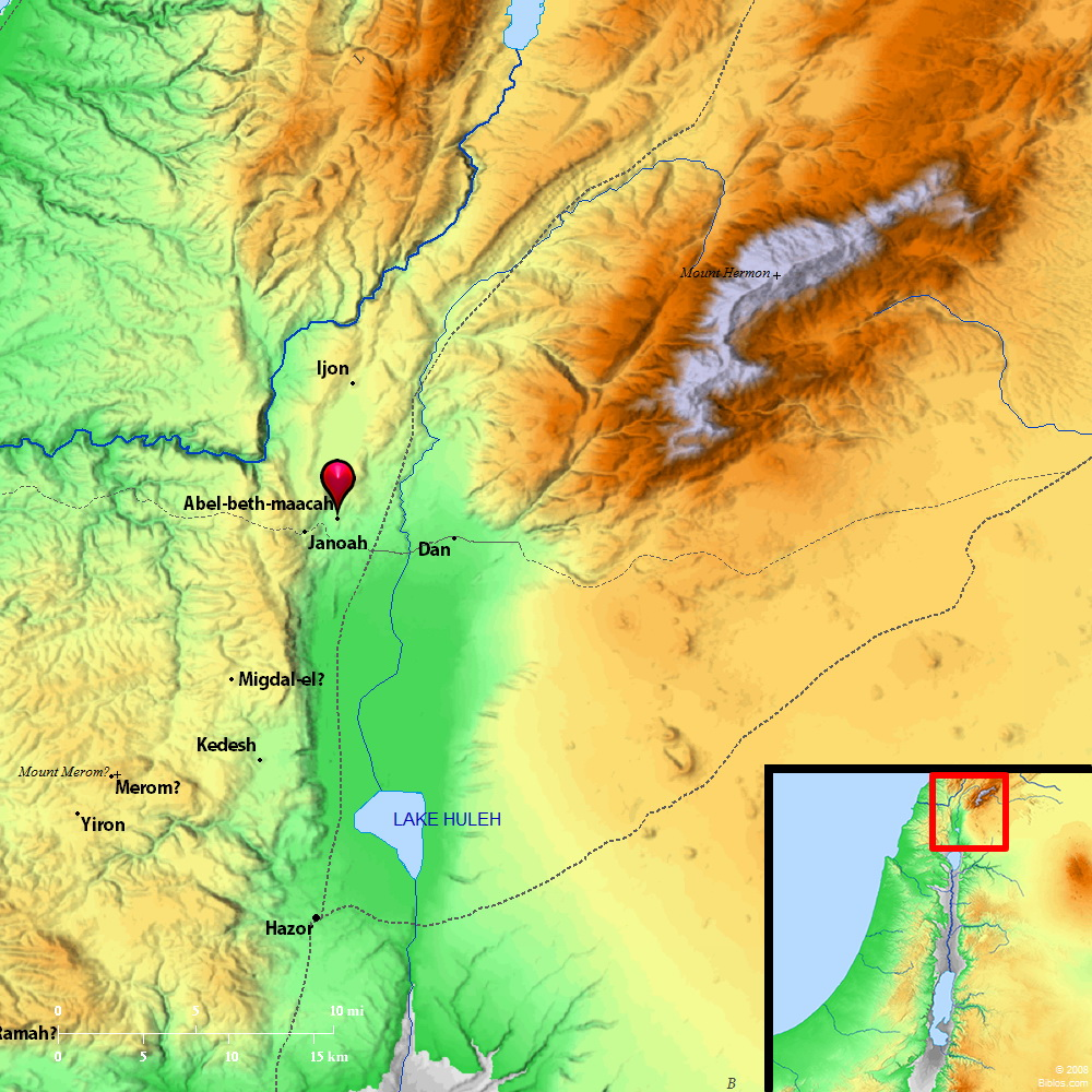 Map of Abel-beth-maacah. Courtesy of Biblos.com.
