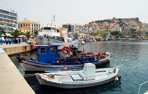 The harbor of Kavalla, Greece, known as Neapolis at the time of Paul. Photo by Ferrell Jenkins.