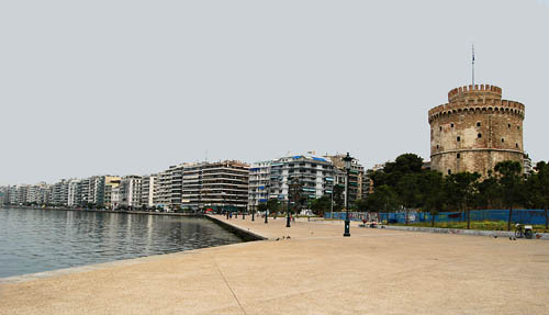 The waterfront of Thessalonica with the White Tower. Photo by Ferrell Jenkins.