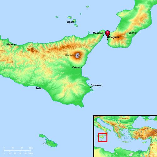 The location of Rhegium and Syracuse. BibleAtlas.org.