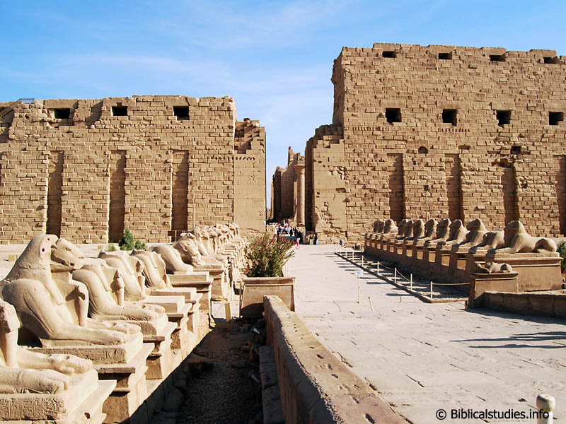 The avenue of ram-headed sphinxes and the first pylon at Karnak. Photo by Ferrell Jenkins.