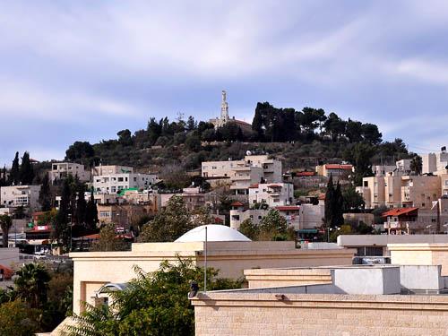 The town of Abu Ghosh, site of biblical Kiriath-jearim. Photo by Ferrell Jenkins.