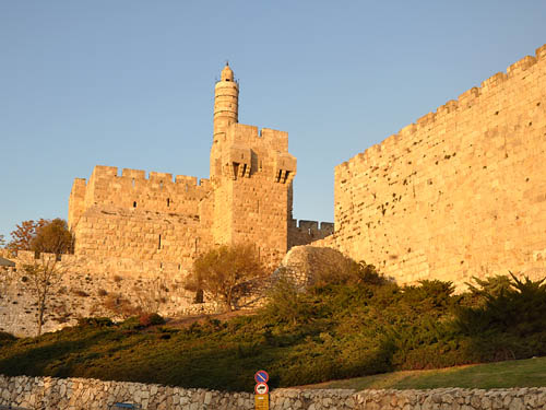 The Tower of David in the afternoon golden glow. Photo by Ferrell Jenkins.