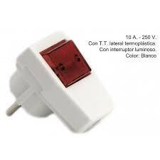 CLAVIJA CON T/T +INTERRUPTOR LUMINOSO 10A 250V