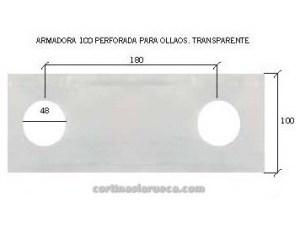 cinta armadora cortina transparente perforada ollaos